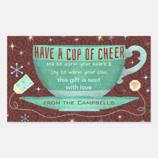 Christmas Cheer Cute Teacup Custom Holiday Rectangular Sticker