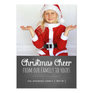 Christmas Cheer Holiday Photo Chalkboard Lettering Card