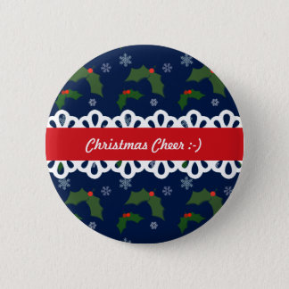 Christmas Cheer Holly Berries Pattern Button
