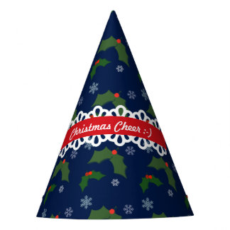 Christmas Cheer Holly Berries Pattern Party Hat