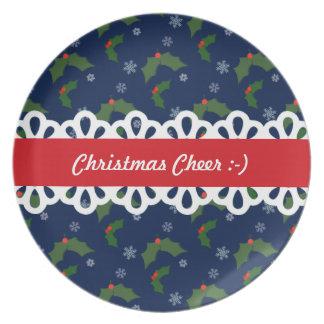 Christmas Cheer Holly Berries Pattern Plate