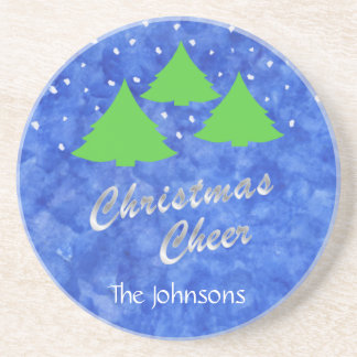 Christmas Cheer in Royal Blue and Lime Green Coaster