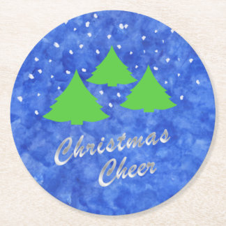 Christmas Cheer in Royal Blue and Lime Green Round Paper Coaster