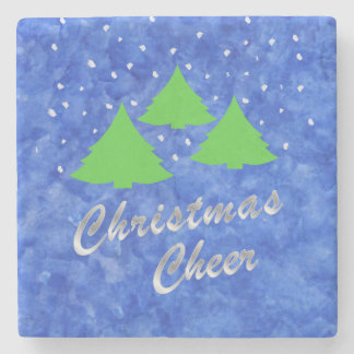 Christmas Cheer in Royal Blue and Lime Green Stone Coaster