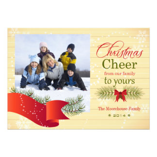 Christmas cheer pine bough holiday photo card
