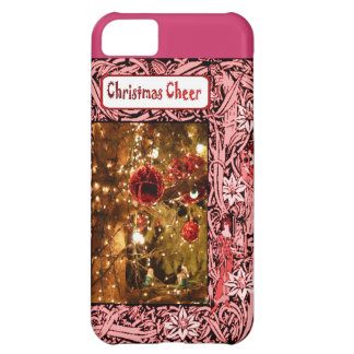 Christmas cheer, pink baubles and flowers iPhone 5C cover