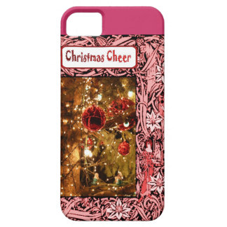 Christmas cheer, pink baubles and flowers iPhone 5 covers
