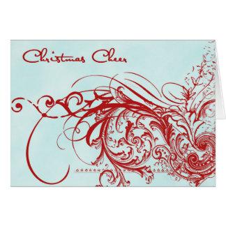Christmas Cheer Red and Aqua Card