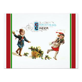"Christmas Cheer Snowball Toss 6.5"" X 8.75"" Invitation Card"