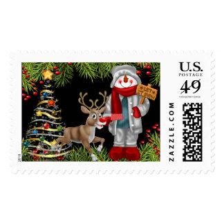 christmas cheer snowman reindeer scene stamp 2