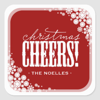Christmas Cheers Snowflakes Modern Holiday Sticker