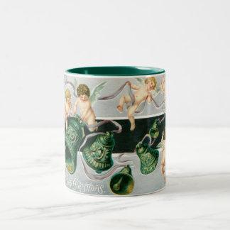 Christmas cherubs and bells Two-Tone coffee mug