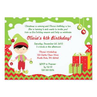 Christmas Chevron Boy Elf Birthday Invitation