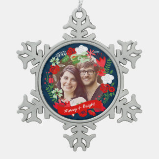 Christmas Chevron Floral Wreath Photo Personalized Snowflake Pewter Christmas Ornament