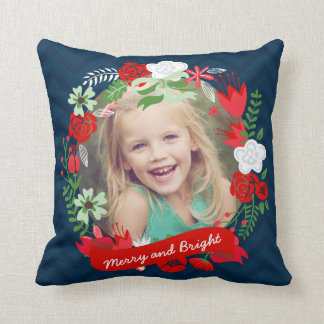 Christmas Chevron Floral Wreath Photo Personalized Pillows