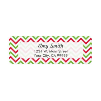 Christmas Chevron Pattern Red and Green Label
