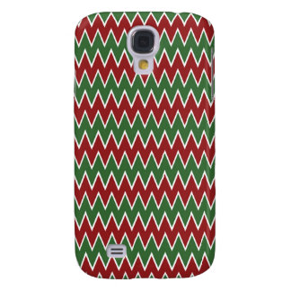 Christmas Chevron Red and Green Zigzag Pattern Samsung Galaxy S4 Cases