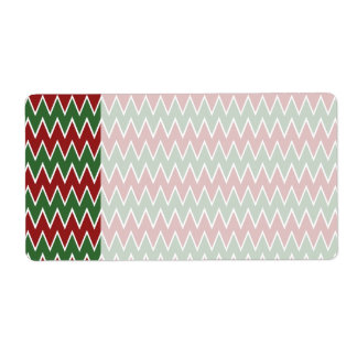 Christmas Chevron Red and Green Zigzag Pattern Label