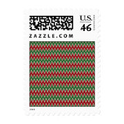 Christmas Chevron Red and Green Zigzag Pattern Postage Stamps