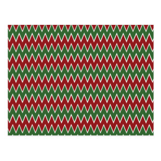 Christmas Chevron Red and Green Zigzag Pattern Postcard