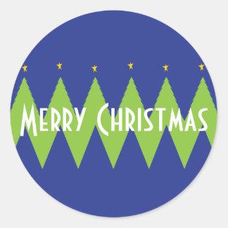 "Christmas ""Chevron Trees"" Personalize Classic Round Sticker"