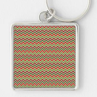 Christmas Chevron Zigzag Pattern Keychains