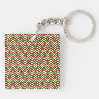 Christmas Chevron Zigzag Pattern Acrylic Keychains