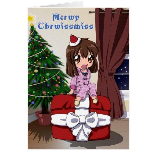 Christmas Chibi Anime Greeting Card