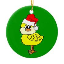 Christmas chick ceramic ornament