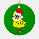 Christmas chick Double-Sided ceramic round christmas ornament