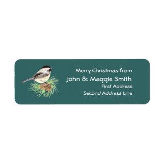 Christmas Chickadee Address Name Label Customize