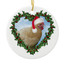 Christmas Chicken * Buff Orpington Ceramic Ornament