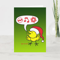 Christmas Chicken making a Wish Holiday Card