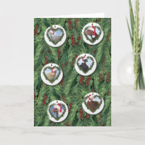Christmas Chicken Ornaments on Tree Card