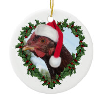 Christmas Chicken *  Rhode Island Red Ceramic Ornament