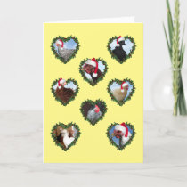 Christmas Chickens in Heart Wreaths Card