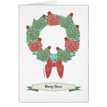 Christmas chickens on wreath/inside pattern.v2 card