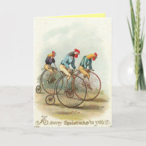 Christmas - Chickens Riding Penny-Farthings Holiday Card