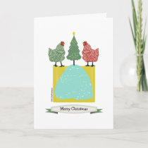 Christmas chickens with tree inside patterns/art holiday card
