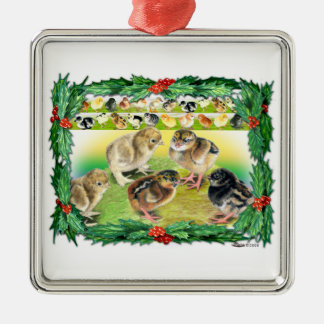 Christmas Chicks Metal Ornament