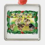 Christmas Chicks Square Metal Christmas Ornament