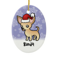 Christmas Chihuahua (add your pets name) Christmas Tree Ornament