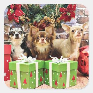 Christmas - Chihuahua - Blue - Precious - Yogi Square Sticker