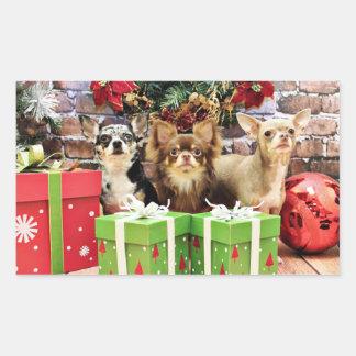 Christmas - Chihuahua - Blue - Precious - Yogi Rectangle Stickers