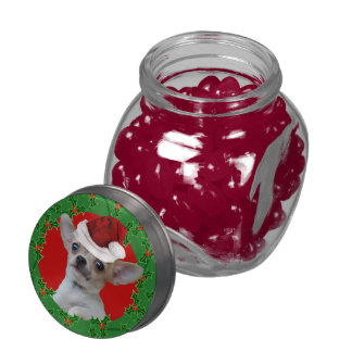 Christmas Chihuahua dog Glass Candy Jars