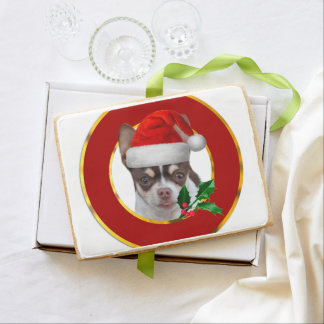 Christmas Chihuahua Dog Shortbread Cookie