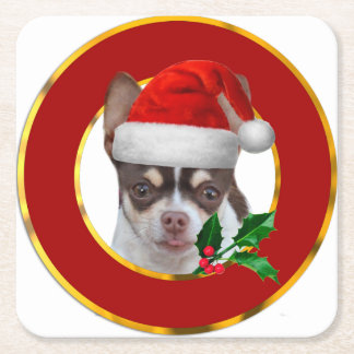 Christmas Chihuahua dog Square Paper Coaster