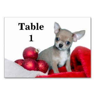 Christmas Chihuahua dog Table Cards