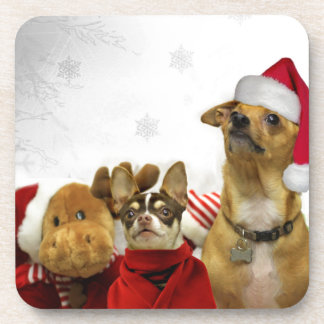 Christmas chihuahua dogs drink coasters