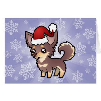 Christmas Chihuahua (long coat) Greeting Card